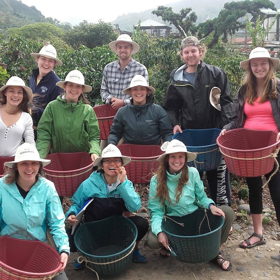 Group of students holding baskets