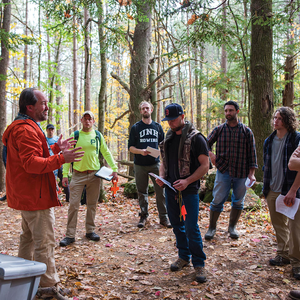Prof. Mark Ducey teaching in the woods