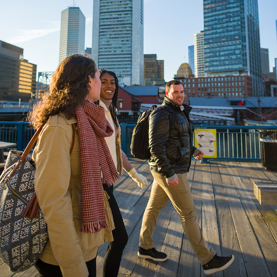 Students walking in the city