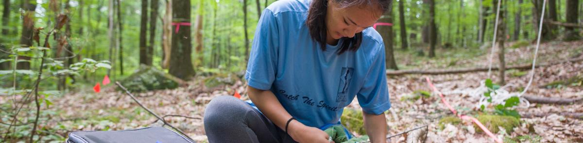 Environmental Conservation and Sustainability student doing field work