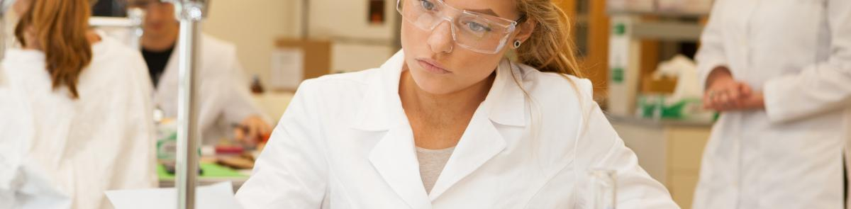 student studying chemistry