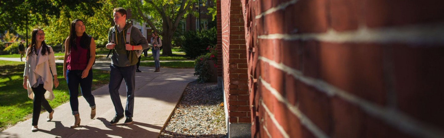 Students walking outside of building on sunny day