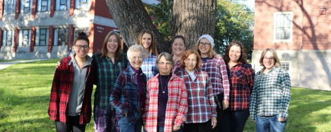 Staff and Students wearing flannel shirts