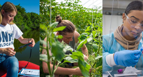 collage of two woman working in the field and in the lab