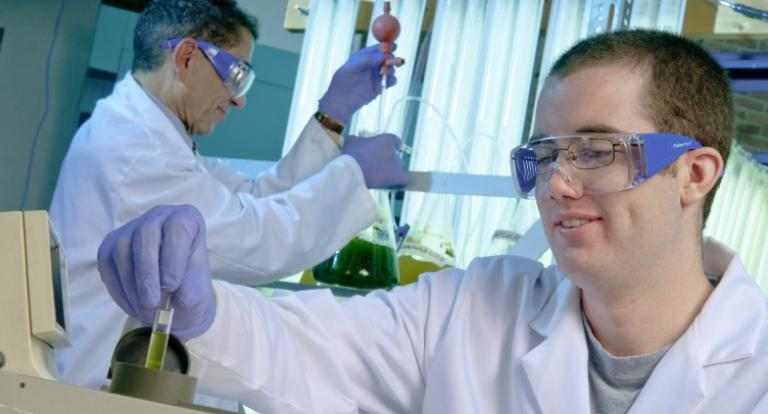 Students working in a lab.