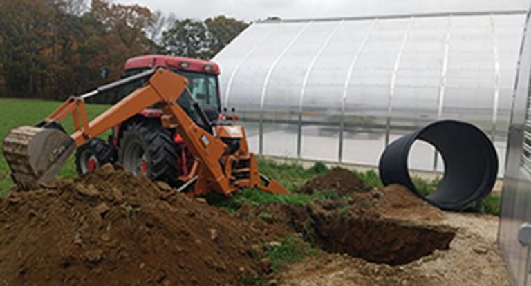 A new greenhouse that will be used for aquaponic systems research at Kingman Farm.