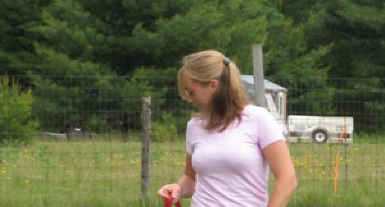 Laura Chapman leading puppy