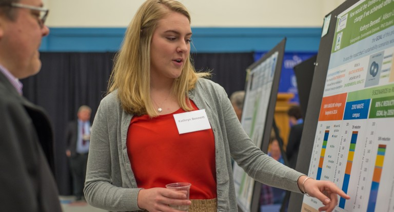 Kathryn Bennett '19 presents research at the UNH Undergraduate Research Conference