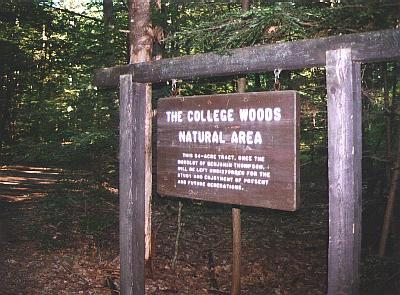College Woods Natural Area sign