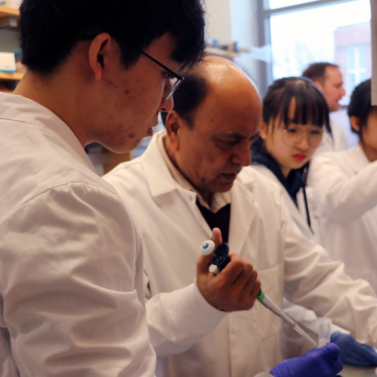 Professor Minocha works with students visiting from South Korea